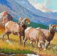 数字でペイントキット羊大人と子供のための数字でペイントDIY油絵ギフトキット印刷済み