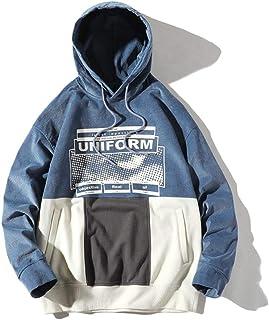 YANGPP Giacca Pullover Hip-Hop Stampata in Tinta Unita con Cuciture in Tinta Unita da Uomo in Pile Street Plus