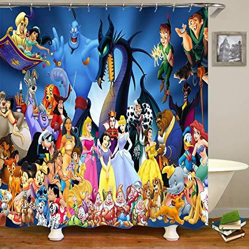vrupi Cartoon Cute Disney Charakter Design wasserdicht Bad Duschvorhang 71x71inch Polyester-Plane einschließlich 12 Kunststoff Haken Bad dicken Wasserdichten Tuch