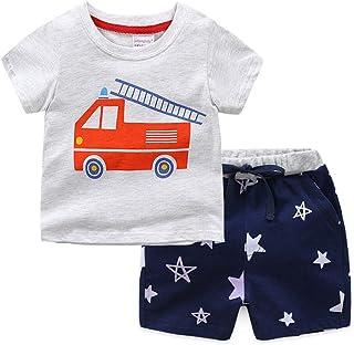 Showu Gar/çons Filles Pyjamas Ensembles Camions de Pompiers Manches Longues V/êtements Deux pi/èces 1-7 Ans