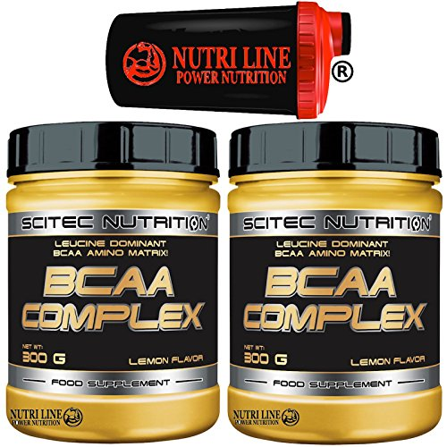 Scitec Nutrition Bcaa Complex 600 gr. (2 x 300 ) Aminoacidi Ramificati 8:1:1 in Polvere 811 + Shaker Nutriline