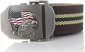 Unisex Canvas Belt,usa Eagle Metal Buckle Military Belt Army Tactical Adjustable Soft Comfortable Nylon Strap Male Belts For Male Coffee Stripes