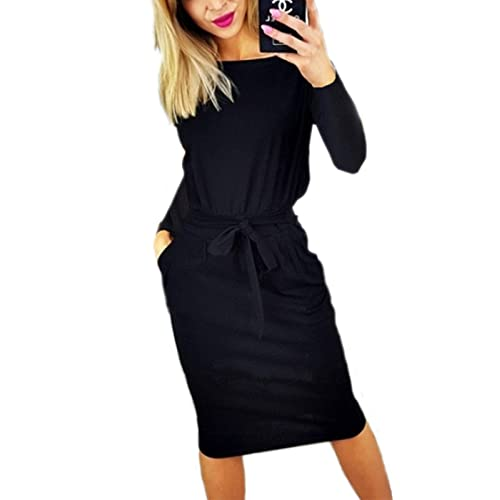 kigod Women Casual Round Neck Long Sleeve Midi Dress Wear to Work Belted  Pencil Dress with fdb5ecce0