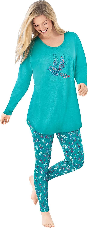 Dreams & Co. Women's Plus Size 2-Piece Pj Legging Set Pajamas
