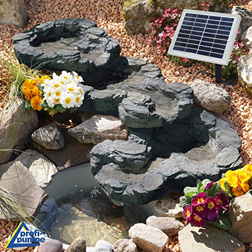 AMUR Solar GARTENBRUNNEN Bachlauf QUELLBACH II mit LED-Licht/Hybrid-System, 230V ZIERBRUNNEN VOGELBAD Wasserfall GARTENLEUCHTE TEICHPUMPE - SPRINGBRUNNEN WASSERSPIEL für Garten, Gartenteich, Teich