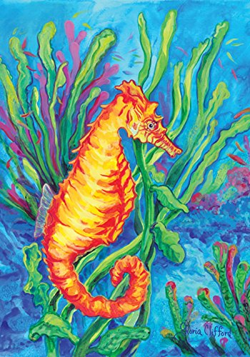 toland Maison Jardin Sea Horse Jardin Drapeau, Tissu, Orange/Yellow/Green/Blue, S-12.5 x 18