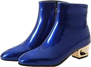Hoge hak laarzen voor vrouwen motorlaarzen herfst winter blok hak partij pompen puntschoen enkellaarsjes