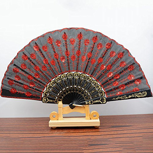 Black Red Spanish Style Dance Wedding Party Lace Silk Folding Hand Held Flower Fan