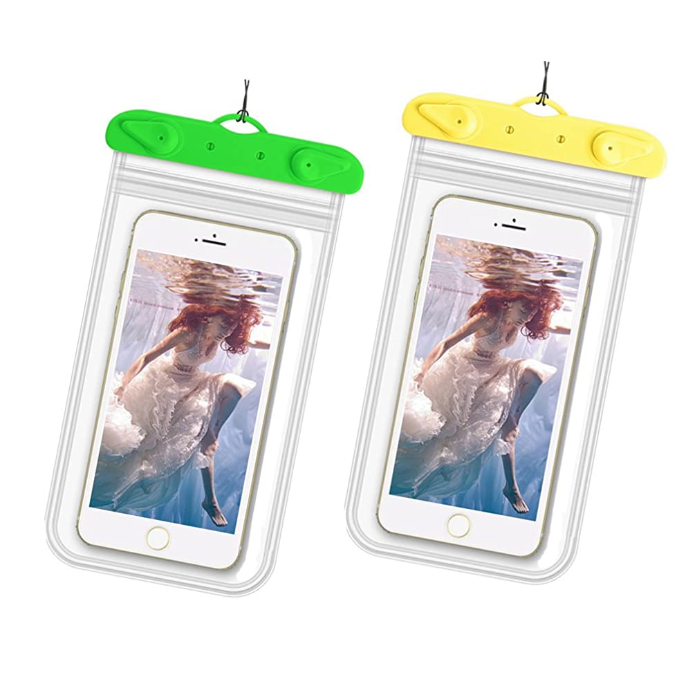 Evoio 2 Pack Universal Waterproof Case, IPX8 Waterproof Phone Pouch Dry Bag for iPhone X 8 7 6 Plus Galaxy S8 S7 Edge S6 S5 S4 Note 4 3 LG G5 G3 (Green Yellow)