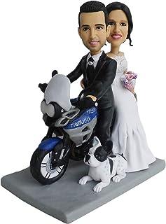 boda de la motocicleta con adornos de pastel de perro decoración decoración muñecas bobblehead Pastel de bodas Topper Figu...