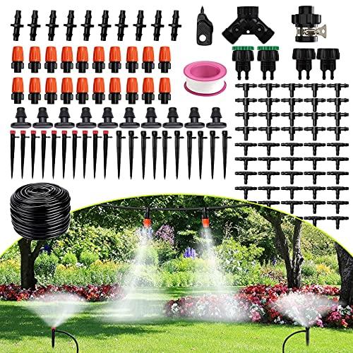 FAMOOKLAN Bewässerungssystem, 25 m automatisches Bewässerungssystem Garten mit einstellbaren Düsen, Tropfbewässerungsset für Gärten, Gewächshäuser, Blumenbeete, Terrasse