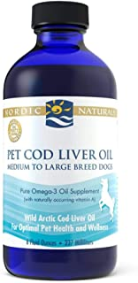 Nordic Naturals Pet CLO Supplement - Cod Liver Oil Omega 3s, DHA, EPA, Promotes Skin, Coat, Joint and Heart Health and Vit...