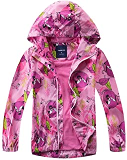 WYTbaby Kids Waterproof Rain Jacket Girls Fleece Outerwear Hooded Lined Windbreaker Spring Fall
