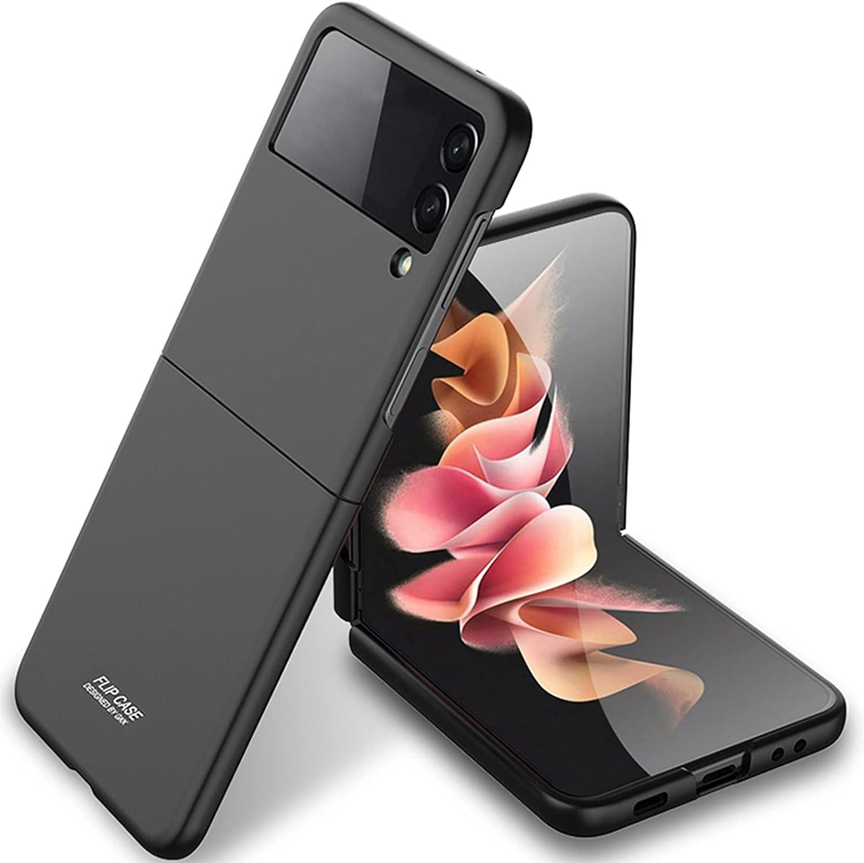 Miimall Compatible with Samsung Galaxy Z Flip 3 2021 Case Cover, Galaxy Z Flip 3 Case Ultra-Thin Matte Finish Anti-Fingerprint Anti-Oil Bumper Case for Samsung Galaxy Z Flip 3 Flip 3 5G 2021(Black)