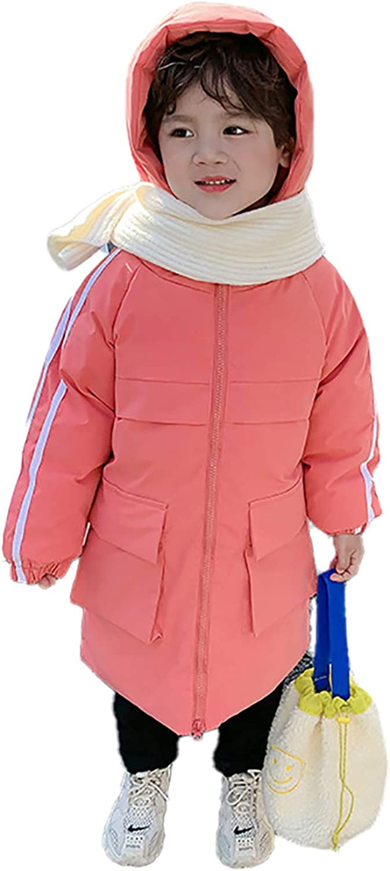 LYMQY 2020 Winter Children's Down Jacket 80% Down Boys Girls Hooded Long Section Warm Windproof Cotton Coat Outerwear 110-150cm (Green,130)