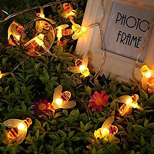 Honeybee String Lights,KINGCOO 5M 40LED Bumble Bee Battery Operated Fairy String Lighting for Home Party Birthday Summer Garden Wedding Christmas Indoor Outdoor Decorations (Warm White)