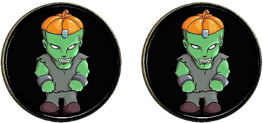 GiftJewelryShop Bronze Retro Style Halloween hulk pumpkin Photo Clip On Earrings 14mm Diameter