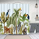 Yoliveya Cortina Ducha Impermeable,Borde sin Costuras árbol Tropical como Palma,Impresión de Cortinas baño con 12 Ganchos 180x180cm