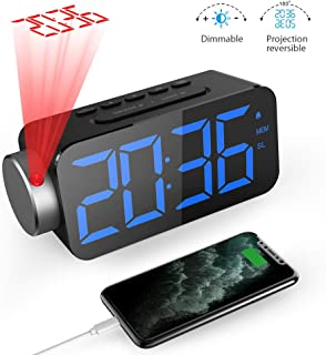 """Quntis Projection Alarm Clock 6.5"""" Dimmable LED Display Digital Alarm Clock with USB Phone Charger,180°Rotable Projection Clock for Bedrooms Ceiling Wall 10 FM Radio Alarm Clock 12/24H Snooze"""