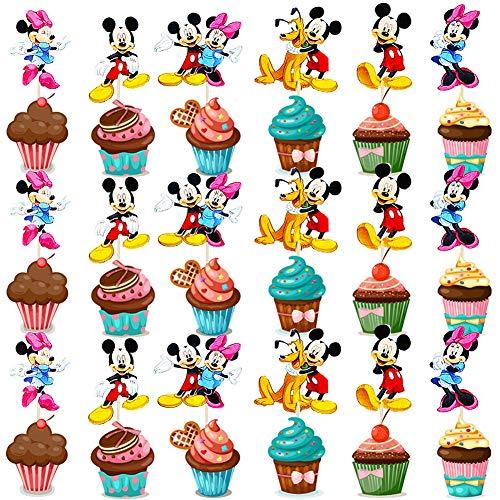 BESTZY 120pcs Mickey Minnie Cupcake Toppers Decoración Tartas de Cumpleaños Pasteles Pato Donald Torta Primeros Magdalena Kit Pastel Para Niños Niñas