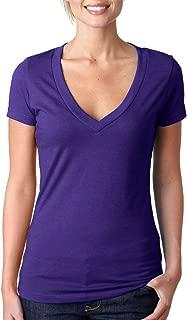 Women's CVC Deep V-Neck Short Sleeve Tee Shirt