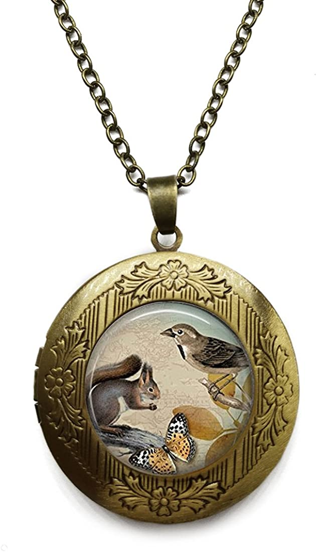 Vintage Bronze Tone Locket Picture Pendant Necklace Nature Animal Included Free Brass Chain Gifts Personalized