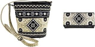 Aztec Flower Messenger Bag Purse Wallet (BLACK BONE)