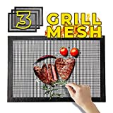 Moxler BBQ Grill Mesh Mat Set of 3 Non Stick for Gas Grill Charcoal Electric Grill Oven Smoker -Reusable Nonstick Grill Mesh Mats for Barbeque Cooking