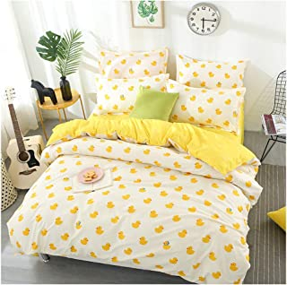 ORIHOMEQueen Bedding Sets Yellow Duck Print– 3 Piece Bedding Sets One Duvet Cover Two Pillowcase Covers– Soft Microfiber Teen Bedding for Kid Girl Bedroom (Cute Duckling, Queen,90''x90'')