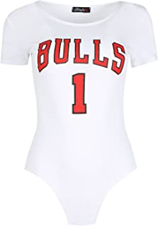 Be Jealous Women's Round Neck Cap Bulls 1 Varsity American Bodysuit Top Leotard