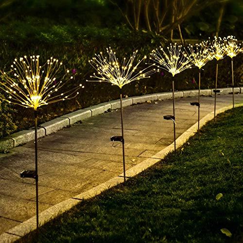 Ooklee Utomhus solträdgårdsljus, 1 st 150 LED 8 flashlägen 50 koppartrådsträng, fyrverkeriinsats Starburst älvljus, vattentäta gör-det-själv blommor träd för uteplats gräsmatta bakgård juldekor