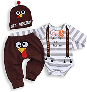 Thanksgiving Newborn Baby Boy Girl Letter Printing Romper Bodysuit Jumpsuit+Floral Pants+Hat Outfit Set
