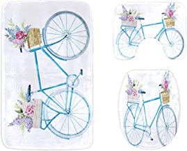 Hand-Painted Bicycle Bathroom Rug Mats Set 3-Piece,Soft Shower Bath Rugs,Contour Mat and Toilet Seat Lid Cover Non-Slip Ma...