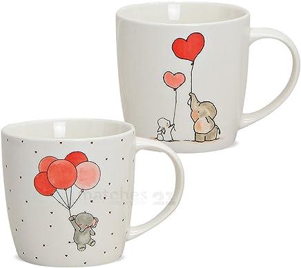 Preisvergleich für matches21 Kindertasse Kinder Tasse Becher Elefant Hase Luftballons 1 Stk B-WARE ** PREISKRACHER ** 9 cm hoch / 300 ml