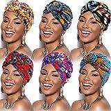 6 Piezas Turbante Africano de Mujeres Gorro Pre-atado de Nudo Flor Pañuelo de Cabeza (Color de Flor)