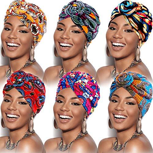 6 Pieces Women African Turban Flower Knot Pre-Tied Bonnet Beanie Cap Headwrap (Flower Color)