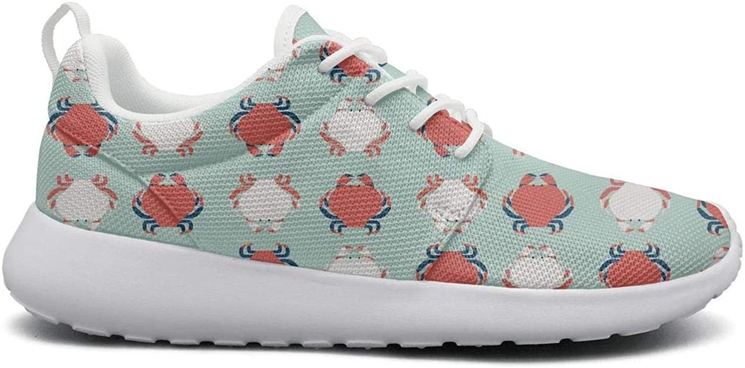 Ipdterty Wear-Resistant Camping Sneaker Crab Design Pattern Women's Casual Track Running shoes
