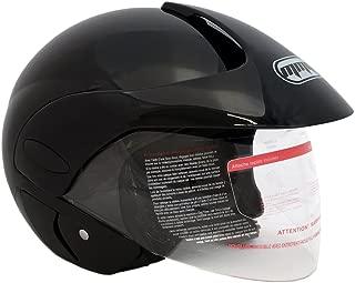 MMG Motorcycle Open Face Helmet DOT Street Legal - Flip Up Clear Visor (L, Shiny Black)
