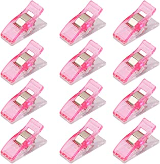 Lot de 50Pcs Clips Pinces en Plastique pour Reliure Couture Artisanat Rose et Transparent