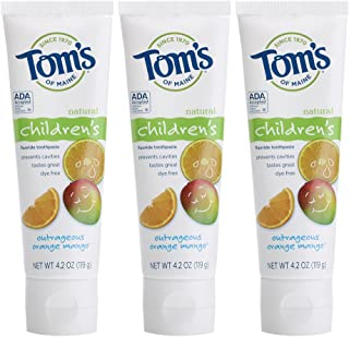 Tom's of Maine Anticavity Fluoride Children's Toothpaste, Kids Toothpaste, Toothpaste for Kids, Outrageous Orange-Mango, 4.2 Ounce, 3-Pack