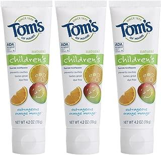 Tom's of Maine Anticavity Fluoride Children's Toothpaste, Kids Toothpaste, Toothpaste for Kids, Outrageous Orange-Mango, 4.2 Ounce (Pack of 3)