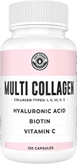 Collagen Capsules with Biotin, Hyaluronic Acid, Vitamin C | Hydrolyzed Multi Collagen Peptide Pills. Types I, II, III, V, ...