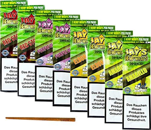 yaoviz® Set 2x 4er Pack - JUICY JAY Hanf Wrap Enhanced - 2 pro Packung (16 Total) - Hemp Wraps inkl- RAW Poker 113mm Holzstab zum stopfen
