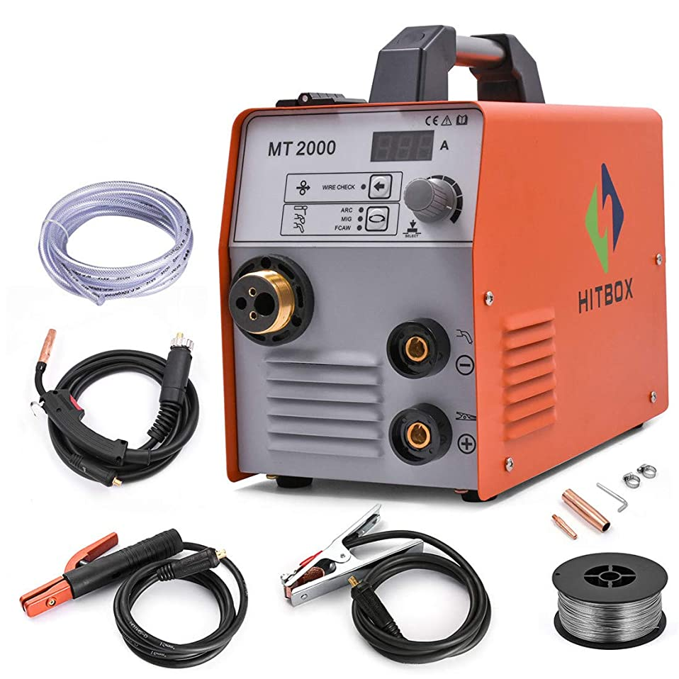 チートやがて不当HITBOX MIG溶接機220V 180A MIG MAG/LIFT TIG/ARC /ガスおよびガスレス4 in 1多機能インバータMIGスティック溶接装置