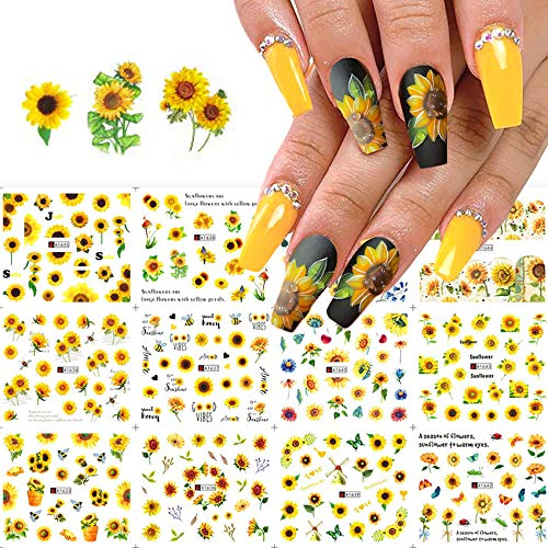 12 Sheets Sunflower Water Transfer Nail Art Stickers, Flowers Leaves Nail Design Nail Decals for Acrylic Nail Supplies, DIY Spring Summer Fashion Charm Nail Decoration Kits Manicure
