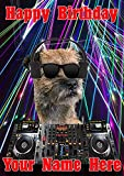 Tarjeta de felicitación de cumpleaños tamaño A5 con diseño de perro Terrier J507 Clubbing Cool DJ