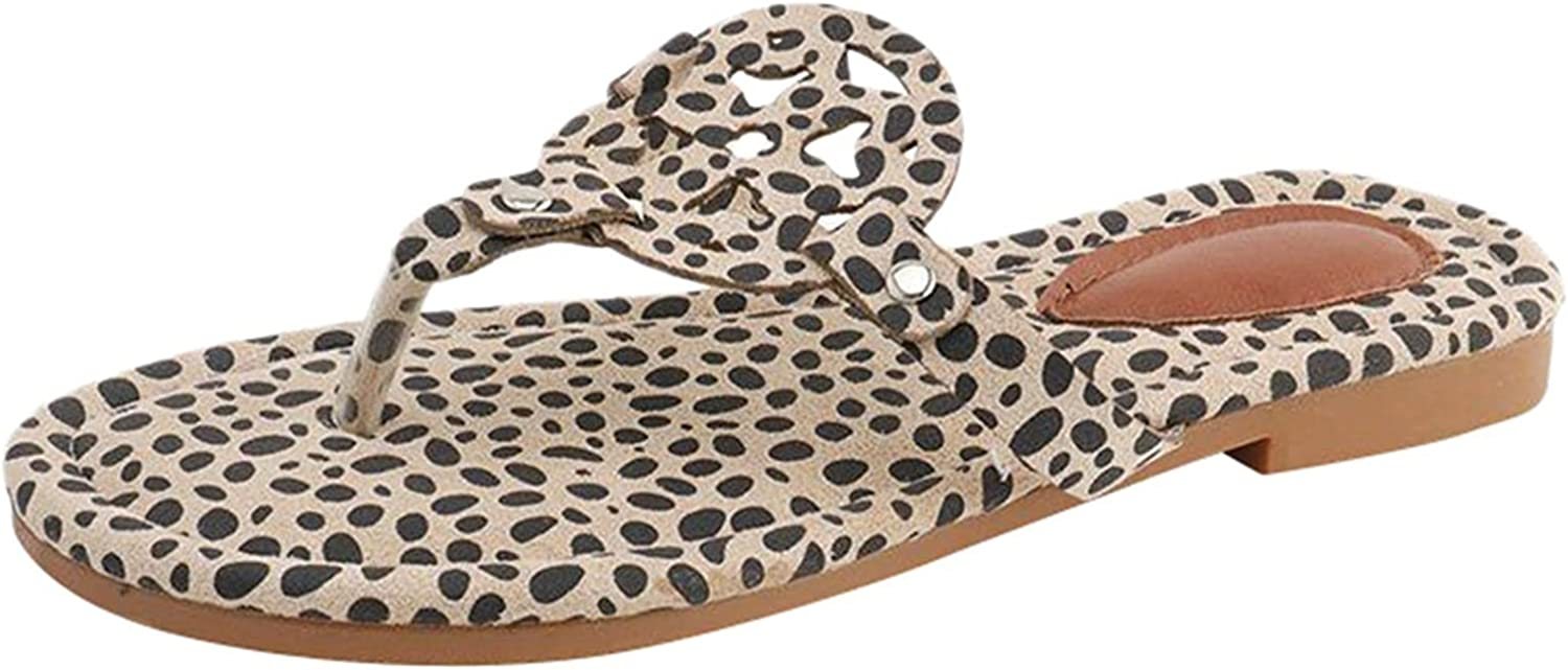 Womens Open Toe Casual Shoes New color Leopard Mail order Out Flats Hollow Wild Loafe