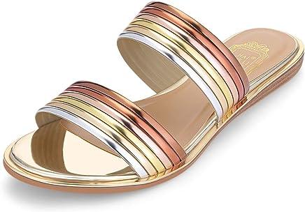 KCatsy Trendy Open Toe Flat Heel PU Slippers Women Shoes