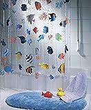 QUALITY Transparenter Plastikduschvorhang mit Fischmuster, 180 x 200 cm, lang, blau, orange, gelb, schwarz