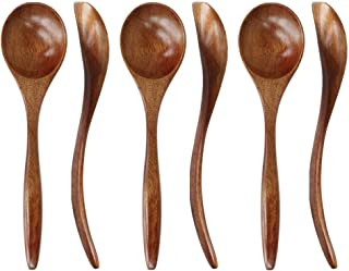 Wooden Spoons for Eating, ADLORYEA 6-Piece Wood Spoons, 7 inch Handmade Natural Wood Spoon for Soup, Coffee, Salad Dessert...